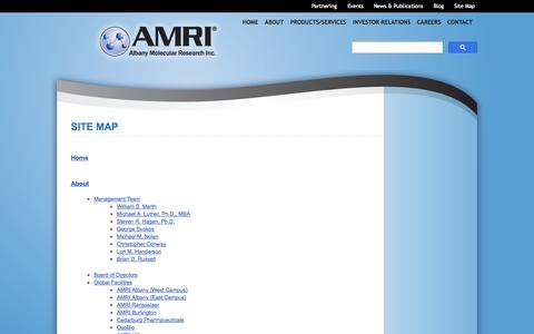 Screenshot of Site Map Page amriglobal.com captured Oct. 3, 2014