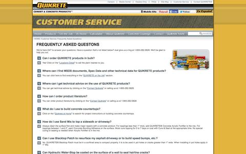 Screenshot of FAQ Page quikrete.com - QUIKRETE® - Frequently Asked Questions - captured Oct. 31, 2014
