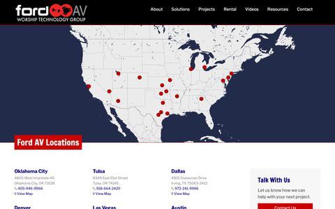 Screenshot of Locations Page fordav.com - Locations – Ford AV Worship Technology Group - captured Nov. 14, 2018