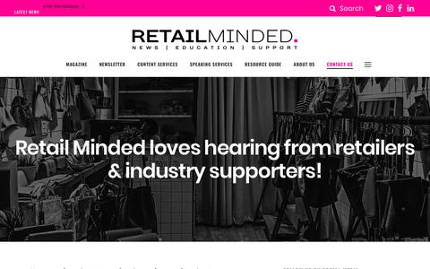 Screenshot of Contact Page retailminded.com - Contact Retail Minded for Content Services or to Say Hello. - captured Nov. 19, 2018