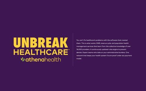 Screenshot of Landing Page athenahealth.com - UNBREAK HEALTHCARE | athenahealth | OLA - captured Aug. 24, 2016