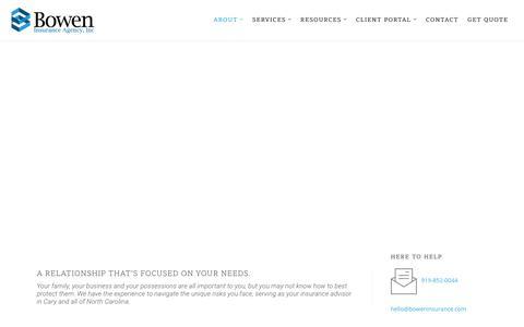 Screenshot of About Page boweninsurance.com - About - Bowen Insurance Agency, Inc.   Cary, North Carolina - captured Oct. 6, 2018