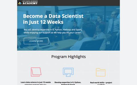 Screenshot of Landing Page nycdatascience.com - July - GO - captured Sept. 6, 2016