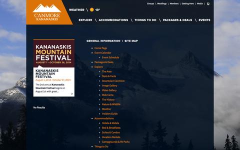 Screenshot of Site Map Page tourismcanmore.com - Site Map | Tourism Canmore Kananaskis - captured Oct. 1, 2014
