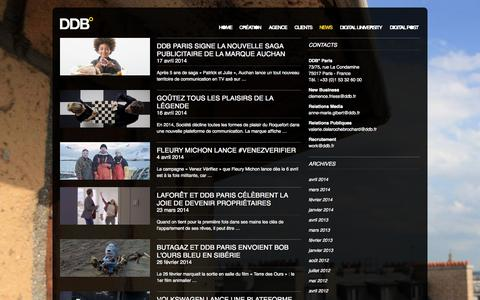 Screenshot of Press Page ddb.fr - News | DDB° - captured Sept. 22, 2014