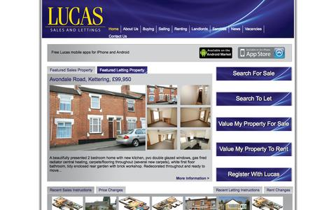 Screenshot of Home Page lucasestateagents.co.uk - Lucas Estate Agents - captured Oct. 3, 2014