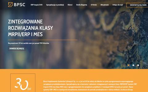 Screenshot of Home Page bpsc.com.pl - Zintegrowane rozwiązania klasy MRPII/ERP i MES | BPSC - captured Dec. 13, 2018