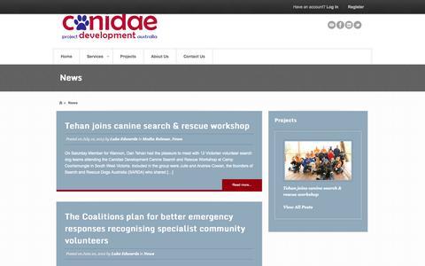 Screenshot of Press Page k9pda.com.au - News Archives | Canidae DevelopmentCanidae Development - captured Oct. 1, 2014
