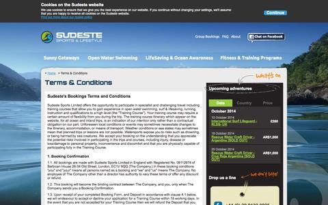 Screenshot of Terms Page sudeste.co.uk - Terms and Conditions - Sudeste - captured Oct. 7, 2014
