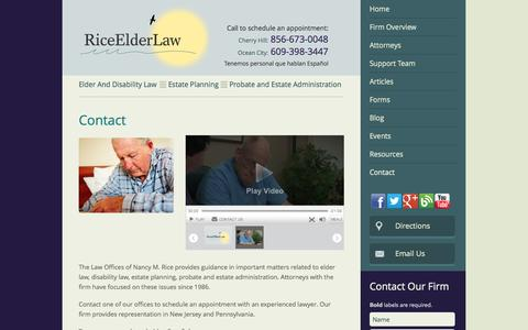 Screenshot of Contact Page Maps & Directions Page riceelderlaw.com - Contact | Law Offices of Nancy M. Rice | Ocean City, New Jersey - captured Oct. 23, 2014