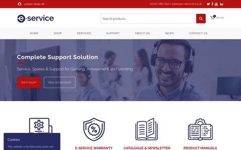 Screenshot of Support Page e-service.co.uk - Support - E-Service - captured Sept. 25, 2018