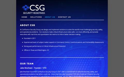 Screenshot of About Page confluencesg.com - About Us — CONFLUENCE SECURITY GROUP - captured Nov. 10, 2016