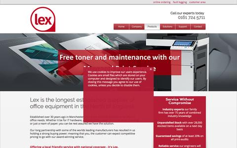 Screenshot of Products Page lexbusiness.co.uk - Lex Business Equipment | Photocopiers Manchester | Products - captured Nov. 6, 2016