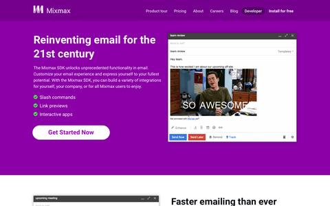 Screenshot of Developers Page mixmax.com - Bring the power of the Web to email with the Mixmax SDK   Mixmax - captured Nov. 17, 2015