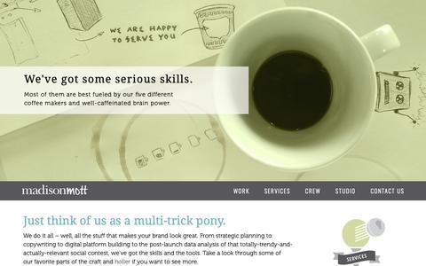 Screenshot of Services Page madisonmott.com - MadisonMott Services Bridgeport, CT Creative Agency - captured Oct. 1, 2018