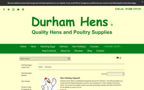 Screenshot of Services Page durhamhens.co.uk - Services - captured Aug. 9, 2018