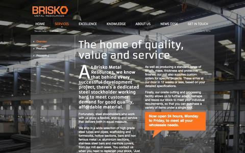 Screenshot of Services Page brisko.co.uk - Overview - Brisko - captured Oct. 5, 2014