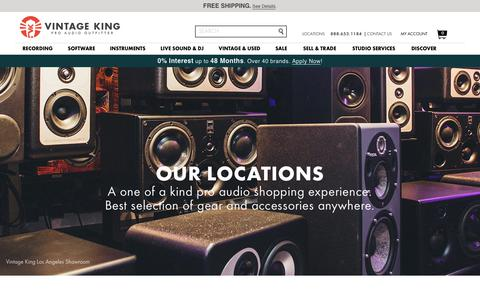 Screenshot of Locations Page vintageking.com - Locations  - Vintage King Pro Audio Outfitter - captured July 11, 2017