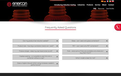 Screenshot of FAQ Page enerconind.co.uk - Frequently Asked Questions about Induction Heat Sealing - Enercon Industries Ltd - captured Aug. 8, 2017