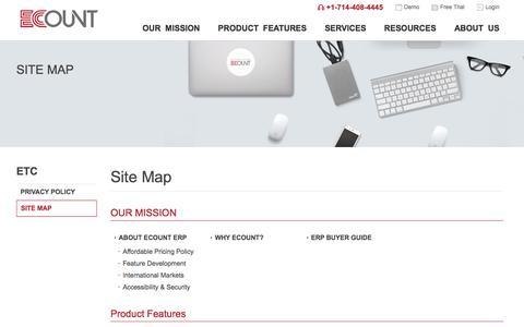 Screenshot of Site Map Page ecounterp.com - Ecount ERP - Site Map - captured Sept. 21, 2018