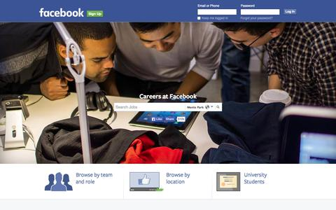 Screenshot of Jobs Page facebook.com - Facebook Careers | Facebook - captured July 3, 2015