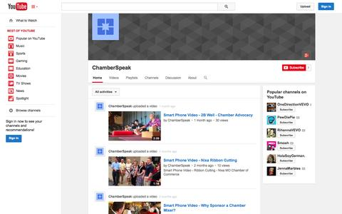 Screenshot of YouTube Page youtube.com - ChamberSpeak  - YouTube - captured Oct. 22, 2014