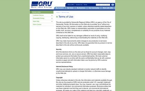 Screenshot of Terms Page gru.com - GRU > Home > Terms of Use - captured Oct. 1, 2014