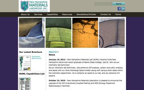 Screenshot of Press Page nhml.com - New Hampshire Materials Laboratory - News - captured Oct. 26, 2014
