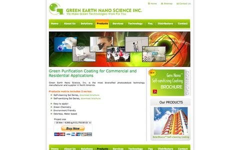 Screenshot of Products Page gensnano.com - Products - Green Earth Nano Science Inc. - captured Oct. 3, 2014