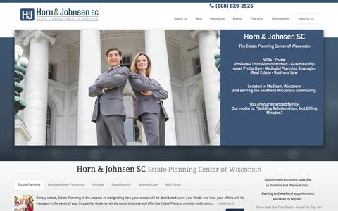 Screenshot of Testimonials Page hornjohnsen.com - Horn & Johnsen | Estate Planning Center of Wisconsin in Madison, WI - captured Oct. 2, 2014