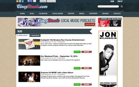 Screenshot of Blog cincymusic.com - Music Blog - CincyMusic.com - captured Sept. 22, 2014