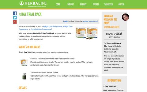 Screenshot of Trial Page shapingwellness.com - 3 Day Trial Pack - Deborah Mulvany BSc Hons's Herbalife Shop - captured Oct. 26, 2014