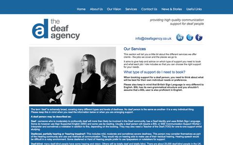 Screenshot of Services Page deafagency.co.uk - The Deaf Agency - Services - captured Oct. 7, 2014