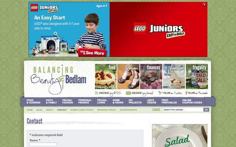 Screenshot of Contact Page beautyandbedlam.com - Contact - Balancing Beauty and Bedlam - captured Oct. 31, 2014