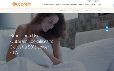 Screenshot of Case Studies Page outbrain.com - Brooklinen Uses Outbrain Lookalikes to Deliver 50% Lower CPA | Outbrain - captured April 19, 2018