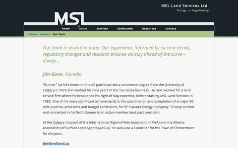 Screenshot of Team Page mslland.ca - Our Team - MSL Land Services Ltd. - captured Nov. 18, 2016