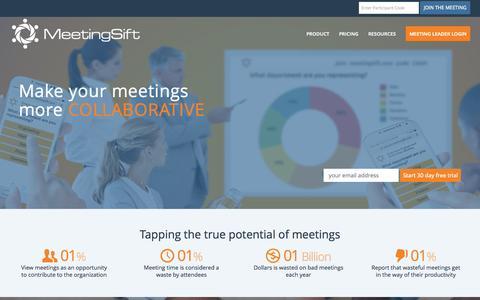Screenshot of Blog livesift.com - MeetingSift - Meeting Productivity Software - captured Sept. 19, 2015