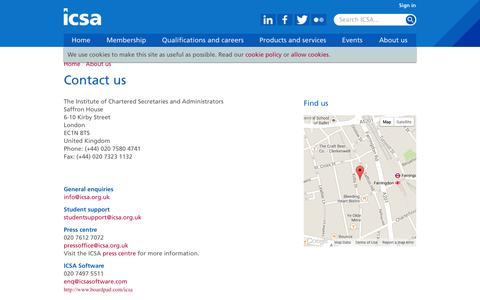 Screenshot of Contact Page icsa.org.uk - ICSA Contact us - captured Sept. 19, 2014