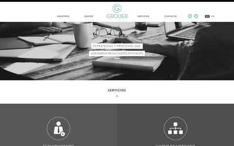 Screenshot of Services Page grouer.com.ar - Grouer | Chasing Human Potencial | Servicios - captured May 25, 2017