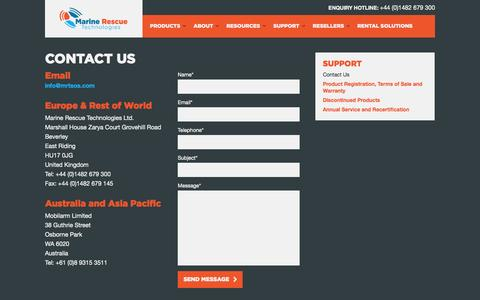 Screenshot of Contact Page Support Page mrtsos.com - Contact Us - Support - Marine Rescue Technologies - captured Oct. 23, 2014