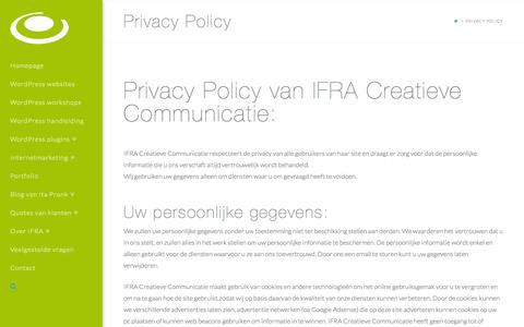 Screenshot of Privacy Page ifra.nl - Privacy policy van IFRA Creatieve Communicatie - captured Sept. 26, 2015