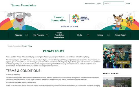 Screenshot of Privacy Page tanotofoundation.org - Privacy Policy - Tanoto Foundation - captured Sept. 21, 2018