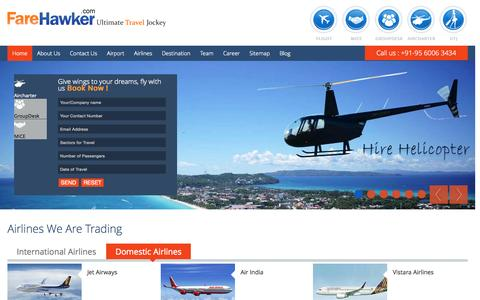 Screenshot of Home Page farehawker.com - FareHawker Airlines,Flights,Hotels,Group Booking,Ultimate Travel - captured Sept. 8, 2015