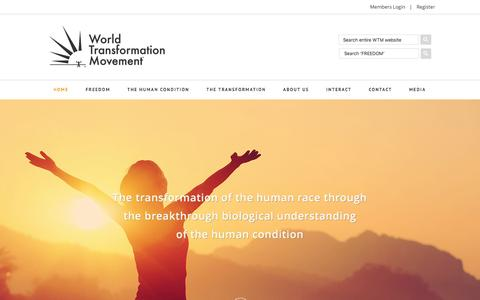 Screenshot of Home Page humancondition.com - World Transformation Movement - The Explanation of the Human Condition - captured Feb. 15, 2016