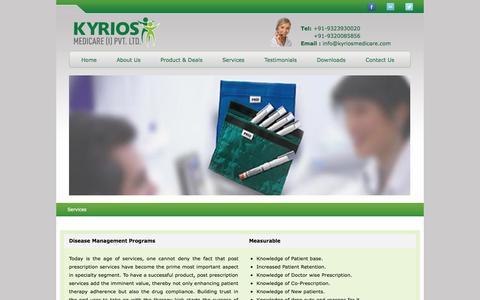 Screenshot of Services Page kyriosmedicare.com - KYRIOS MEDICARE [l] PVT. LTD. - captured Oct. 6, 2014