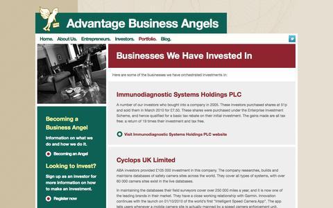 Screenshot of Case Studies Page advantagebusinessangels.com - Entrepreneurs seeking angel funding from business angels Advantage Business Angels - captured Sept. 30, 2014