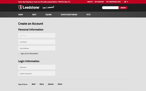 Screenshot of Signup Page leedstone.com - Create New Customer Account - captured Oct. 2, 2014