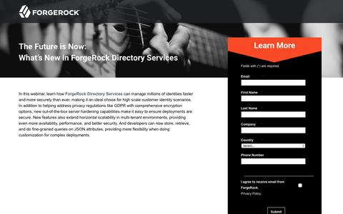 Screenshot of Landing Page forgerock.com - The Future is Now: What's New in ForgeRock Directory Services - captured March 4, 2018