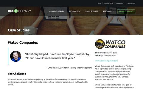 Screenshot of Case Studies Page bizlibrary.com - Watco Companies Uses BizLibrary's Online Training Solutions - captured June 6, 2018