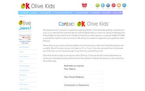 Screenshot of Contact Page olivekids.com - Olive Kids: Contact Us - captured Jan. 17, 2016